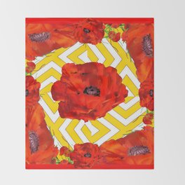 YELLOW CONTEMPORARY ORANGE-RED POPPY PATTERNS Throw Blanket