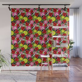 Colourful Ladybirds and Flowers Pattern Wall Mural
