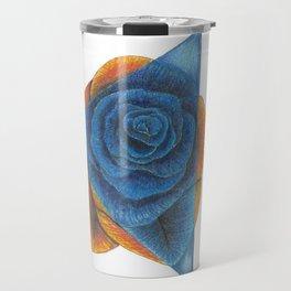 Orange and Blue Rose with Triangle Travel Mug