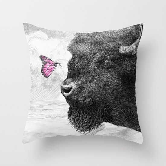 Bison and Butterfly Throw Pillow