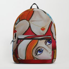 Portrait of a burlesque ginger girl with cocktail painting by Ksavera Backpack