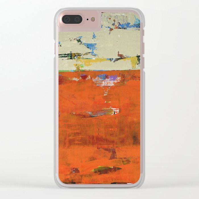 Roadrunner Bright Orange Abstract Colorful Art Painting Clear iPhone Case
