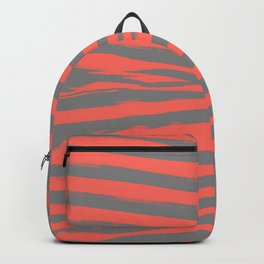 Coral & Gray Stripes Backpack