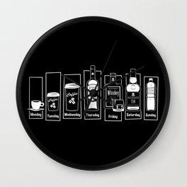 Coffee Whiskey Calendar Wall Clock
