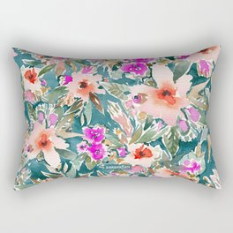 VICARIOUS VACATION Lush Tropical Floral Rectangular Pillow