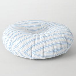 Mattress Ticking Wide Striped Pattern in Pale Blue and White Floor Pillow