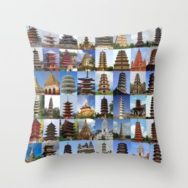 Pagodas Montage Throw Pillow