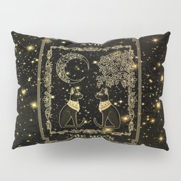 "Tarot ""The moon"" - gold - cat version Pillow Sham"