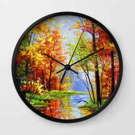Autumn pond Wall Clock