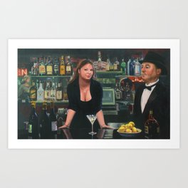 Bar at the Corner Cafe Art Print