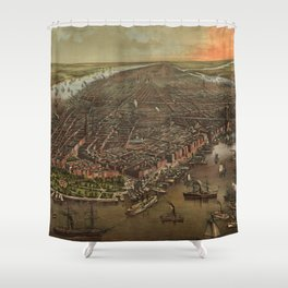 Vintage Pictorial Map of New York City (1873) Shower Curtain