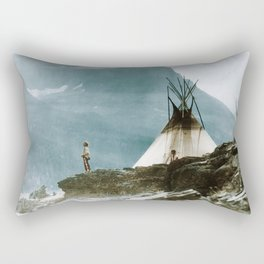 Echoes Call - American Indian Camp Rectangular Pillow