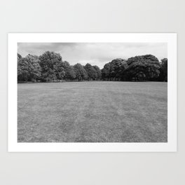 Blackweir Fields, Bute Park, Cardiff (Black and White) Art Print
