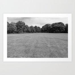 Blackweir Fields, Bute Park, Cardiff (Black and White) Art Print