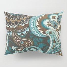 Turquoise Brown Vintage Paisley Pillow Sham