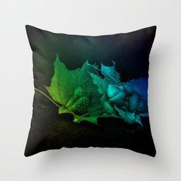 Acorns on a leafspoon Throw Pillow