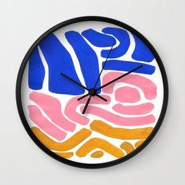 Colorful Minimalist Mid Century Modern Shapes Pink Ultramarine Blue Yellow Ochre Tribal Maze Pattern Wall Clock