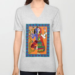 Madhubani Painting / Painting of God Shiv and Mata Parvati/ Madhubani Hub /Original painting of Amrita Gupta Unisex V-Neck