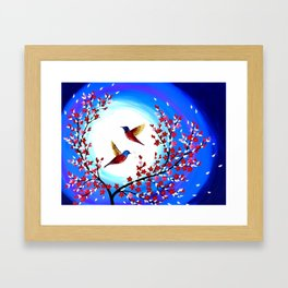 Red Cherry Blossom Framed Art Print