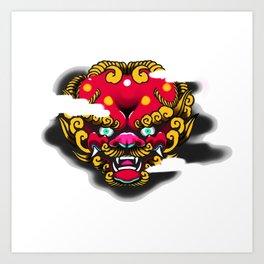 Red Foo Dog Art Print