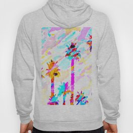 palm tree with colorful painting texture abstract background in pink blue yellow red Hoody
