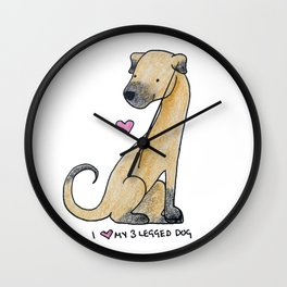 I Love My 3-Legged Dog Wall Clock