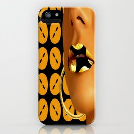 Lips in Golden buttons iPhone Case