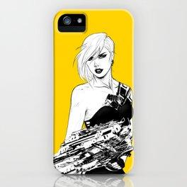 Badass girl with gun in comic pop art style iPhone Case