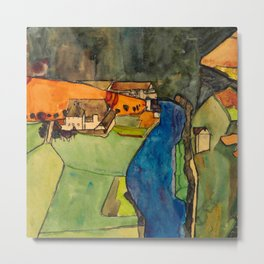 "Egon Schiele ""Stadt am blauen Fluss (Town on the blue river)"" Metal Print"