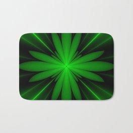 Neon Green Flower Fractal Bath Mat