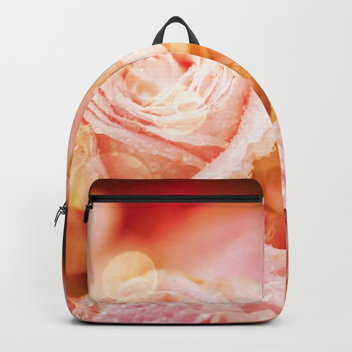 Roses with waterdroplets and bokeh Backpack