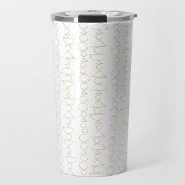 Beaded Curtain, Pattern in Gold Travel Mug