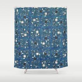 Blue tech Shower Curtain