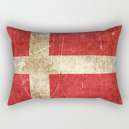 Vintage Aged and Scratched Danish Flag Rectangular Pillow