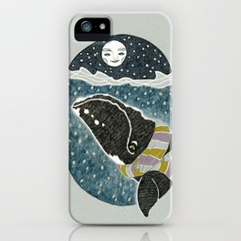 Whale and the Moon iPhone Case