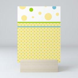 Yellow Dots, Blue, Green, Dots, Circles Mini Art Print