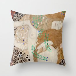 Gustav Klimt - Friends .Water Serpents Throw Pillow
