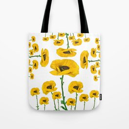 YELLOW POPPIES FLOWER ON WHITE Tote Bag