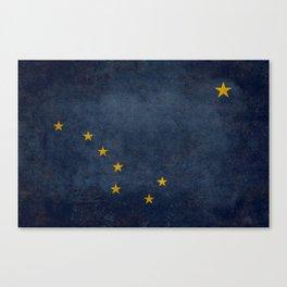 Alaskan State Flag, Distressed worn style Canvas Print