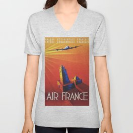 Vintage Mid Century Travel Poster Air France Jet African Islamic Mosque Monochrome Orange Sunset Unisex V-Neck