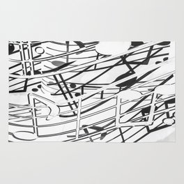 music note sign pattern abstract background in black and white Rug