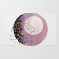 the moon Area & Throw Rugs featuring moon by Laura Graves