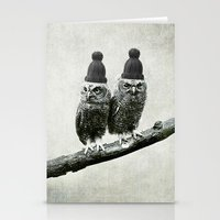 owls Stationery Cards featuring Owls by Juste Pixx Designs