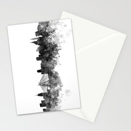 Sao Paulo skyline in black watercolor on white background Stationery Cards