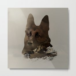 German Shepherd Double Exposure Metal Print