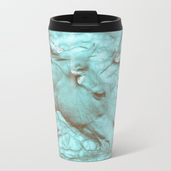 Beautiful horse and butterflies Metal Travel Mug