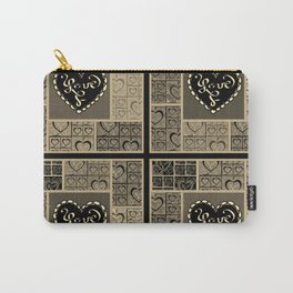 4 Square Hearts Pattern (black and gray) Carry-All Pouch