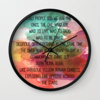kerouac Wall Clocks featuring Kerouac Watercolour: by NomadicArt