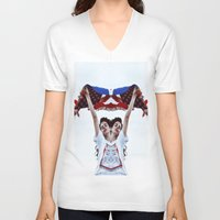 american V-neck T-shirts featuring AMERICAN by Paparrazzi666