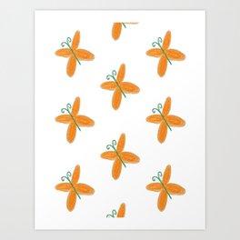 Orange butterflies Art Print